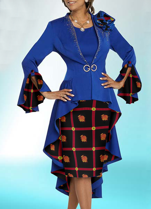 Two Set Jacket Dress for Woman - Blue and Black-Red Combination