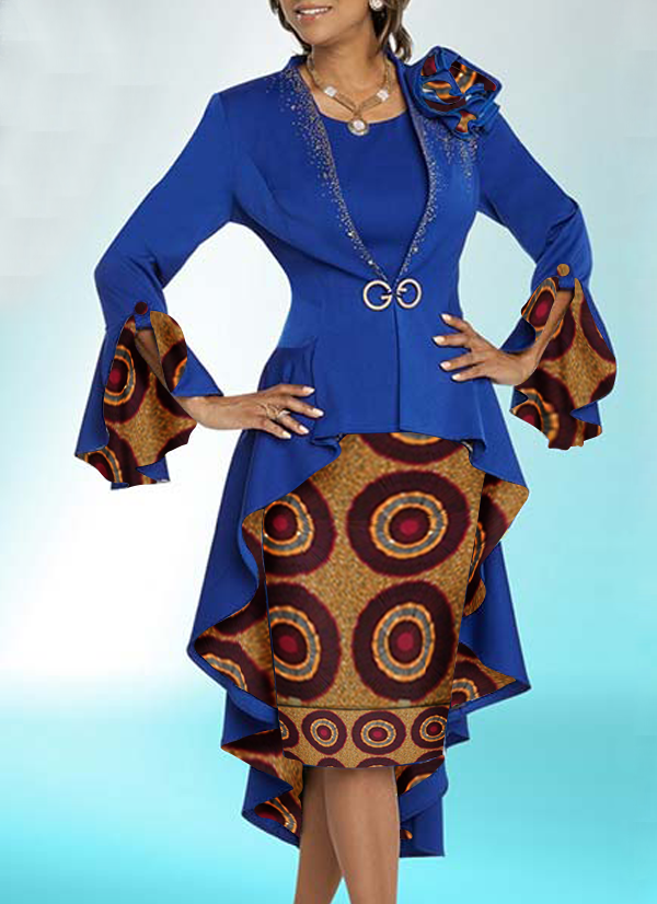 Two Set Jacket Dress for Woman - Blue Top With Circular Lively Print