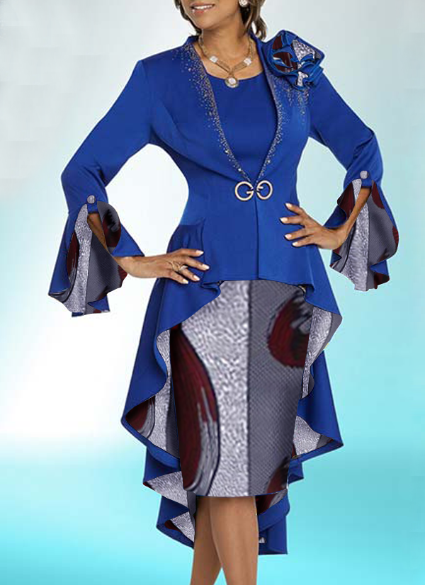 Two Set Jacket Dress for Woman - Blue Colored Top with Partial divider Design