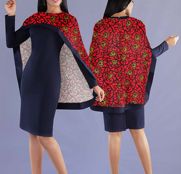 Women Elegant Top with Beautiful Lively Printed Cape - Navy Blue Top with Red Color Cape