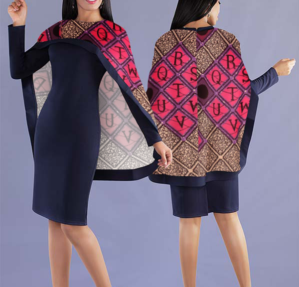 Women Elegant Top with Beautiful Lively Printed Cape - Navy Blue Top with Unique design Cape