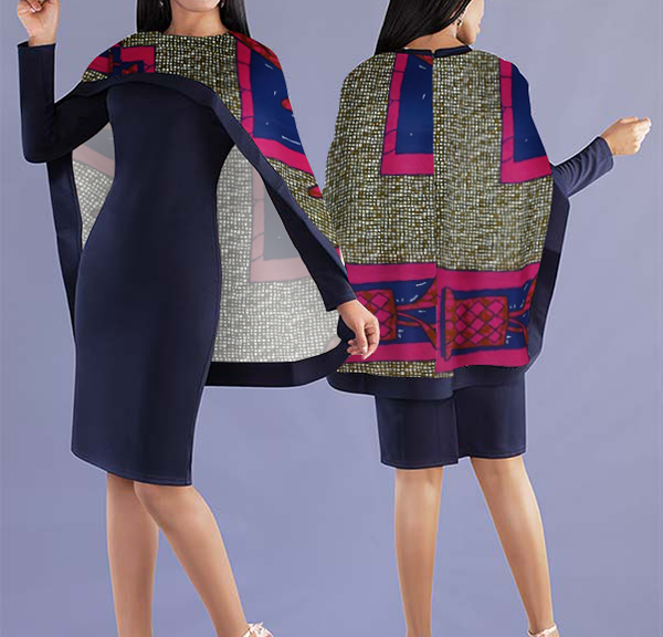 Women Elegant Top with Beautiful Lively Printed Cape - Navy Blue Top with Eccentric Design Cape