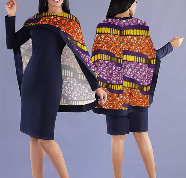 Women Elegant Top with Beautiful Lively Printed Cape - Navy Blue Top with Uncommon design Cape