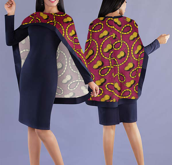 Women Elegant Top with Beautiful Lively Printed Cape - Navy Blue Top with Stylistic Cape