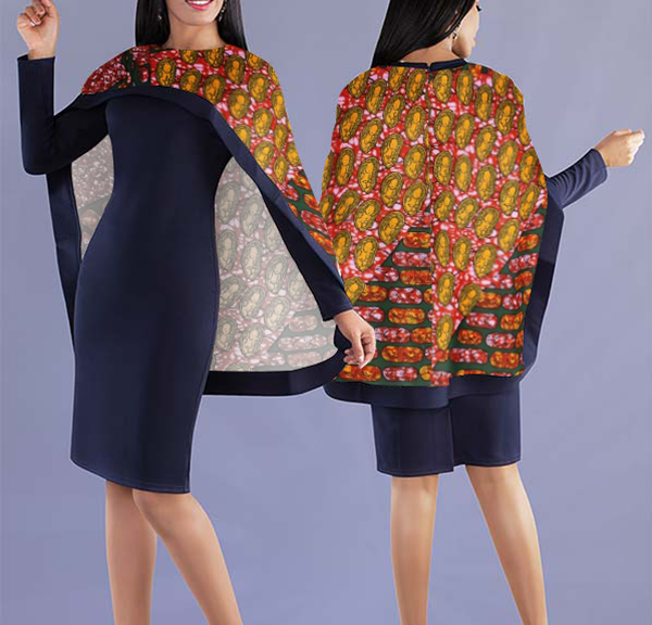 Women Elegant Top with Beautiful Lively Printed Cape - Navy Blue Top with Colorful Designed Cape