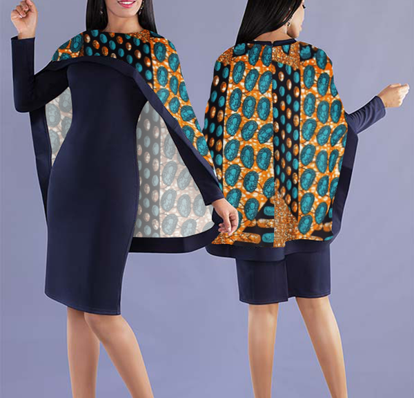 Women Elegant Top with Beautiful Lively Printed Cape - Navy Blue Top with Unique Printed Cape