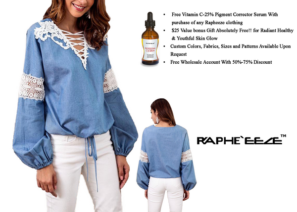 Women Denim Light Blue Shirt With White Lace patchwork Loose Sleeve with V neck Style