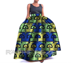 Amazing Designed Long Maxi Bobo Skirt for Women - Blue & Paste Green