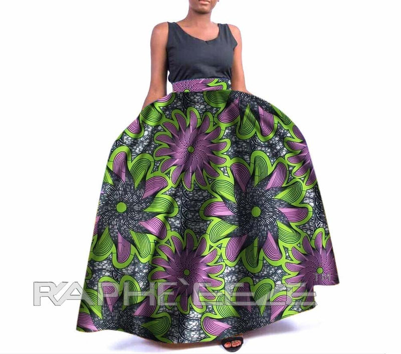 Unique Designed Long Maxi Bobo Skirt for Women - Forest Green