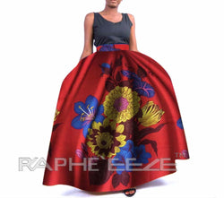 Lucrative Designed Long Maxi Bobo Skirt for Women - Maroon Red