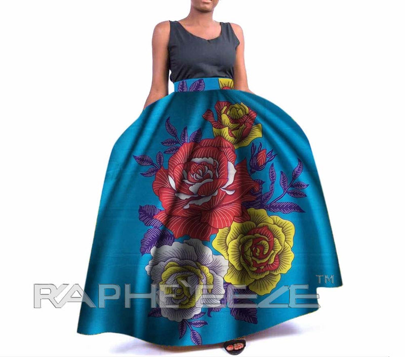 Long Skirt Apparel with Long Sleeve Maxi Style - Cyan Color
