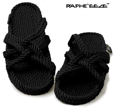 slip on rope sandal black