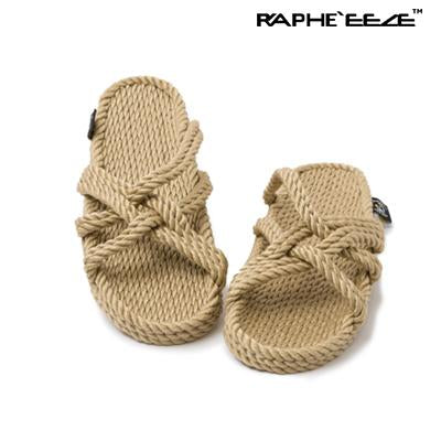 slip on rope sandal camel color