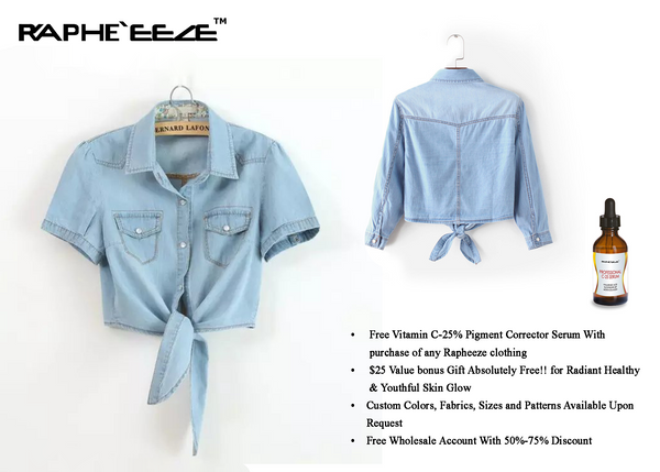 Hem Lace-up Crop Top Kimono Style Short sleeves Denim Shirt for Woman
