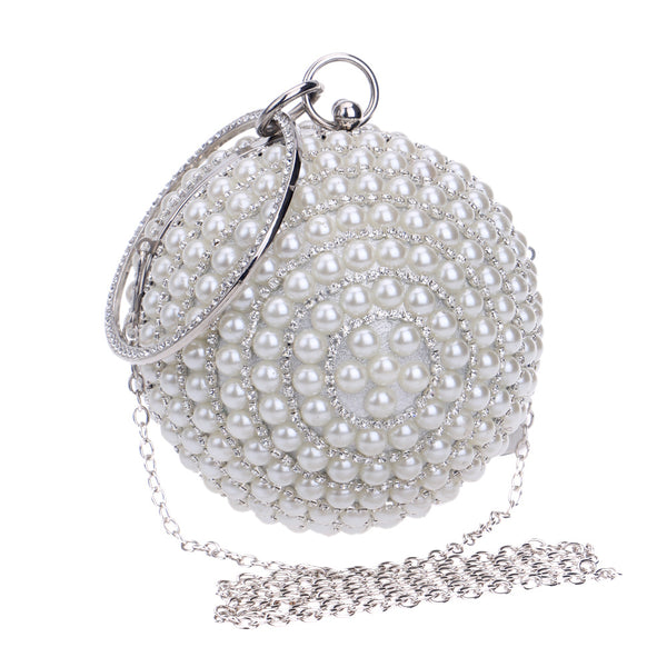 Unique Trendy Designed Handmade Party Beaded Pearl Evening Clutch Bag for Women - White Color