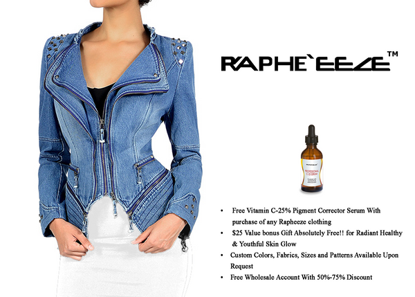 Mid Stone Washed Blue Zipper style Denim Jacket with Long Sleeve for Woman