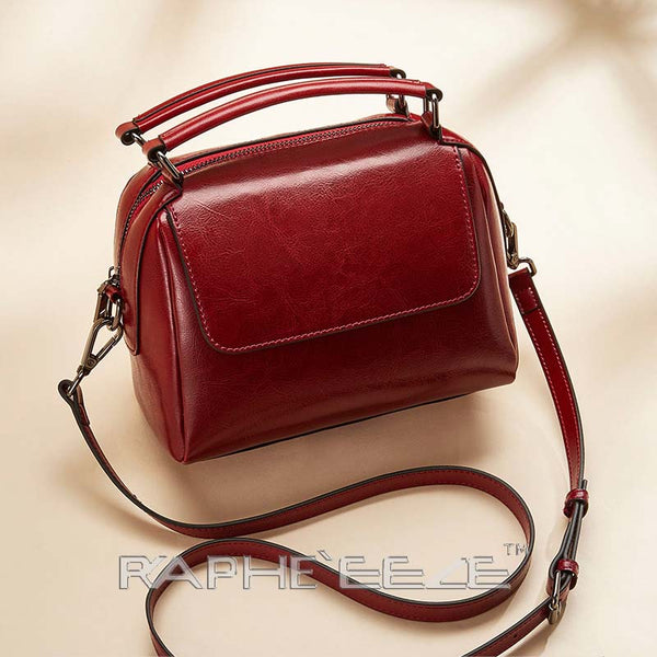 Classic Tote Handbag for Woman - Wine Red