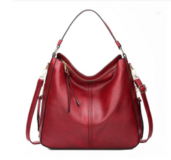 Stylish Designed Italian Leather Made Cross Body Tote Bag for Women - Wine Red