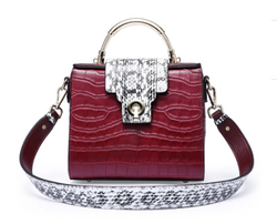 Stone Embedded Cowhide Italian Leather Shoulder Bags for Women - Wine Red