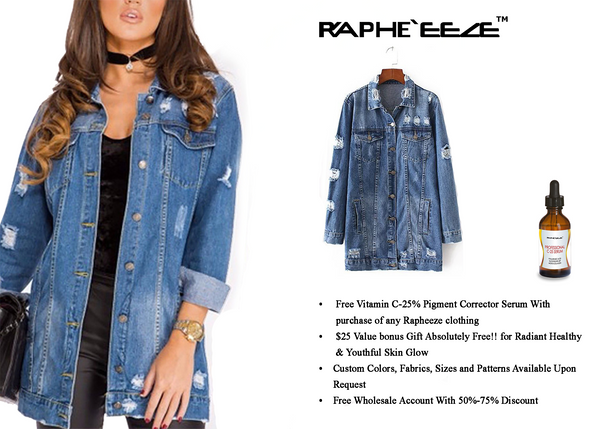 Classic Blue Distressed Ripped Long Sleeve Button Down Denim Jacket Coat for Woman