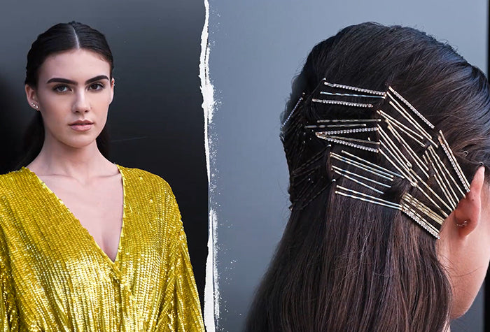 Holiday Hairstyle: Slicked Back Bobby Pin Look