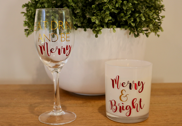 Eat Drink and be Merry Christmas Wine Glass