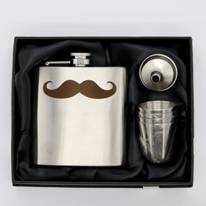 Moustache Flask Gift Set