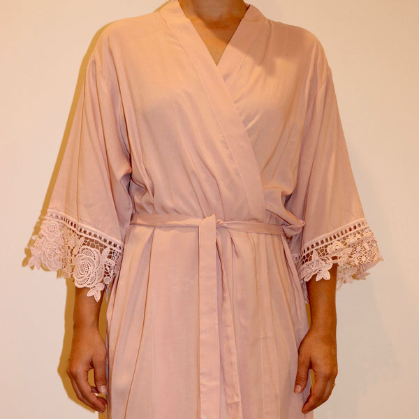 Matte Satin Lace Bridal Robes
