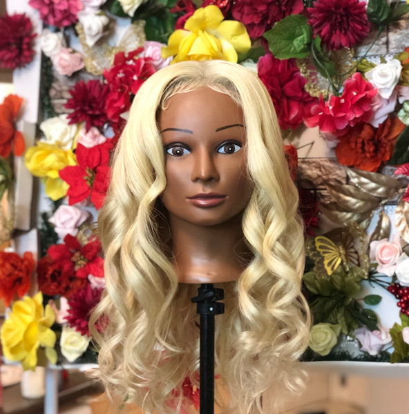 Mighty Touch Blonde Human Hair Wig w/ Lace Closure #613 - Amandalola Hair