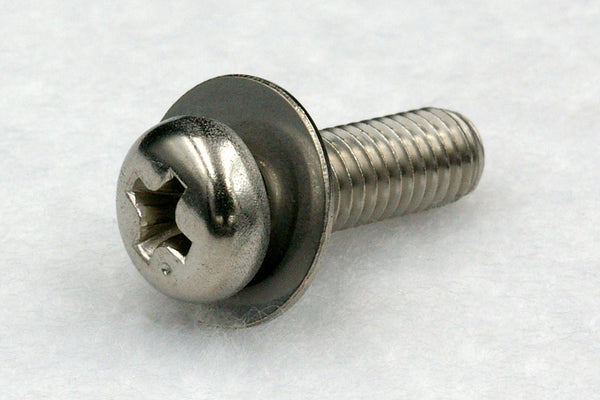 310w/washers M6 Cross Recess Pan Head Machine Screw with Flat Washer(JIS Small), Stainless A2 100 pcs.