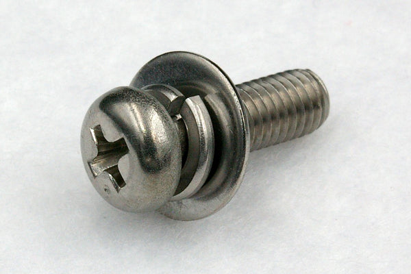 310w/washers M4 Cross Recess Pan Head Machine Screw with Spring and Flat Washer(ISO), Steel 3Cr 100pcs.
