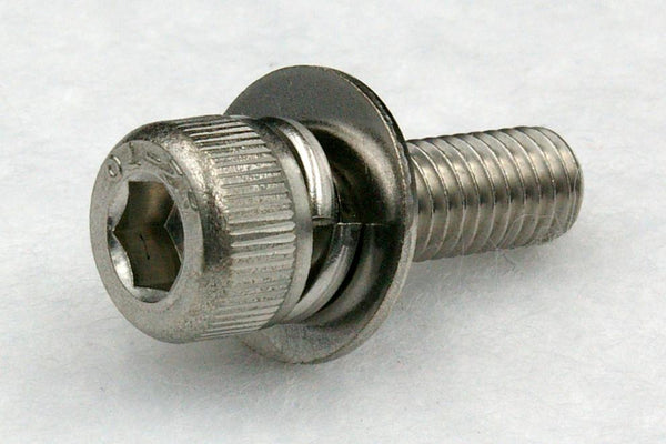 310w/washers M3 Hex Socket Cap Screw with Spring and Flat Washer(JIS Small), Steel 3Cr 100 pcs.
