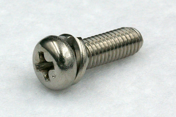 310w/washers M2.6 Cross Recess Pan Head Machine Screw with Spring Washer, Stainless A2 100 pcs.
