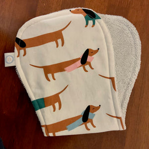 Contoured Burp Cloth - Sausage Dogs