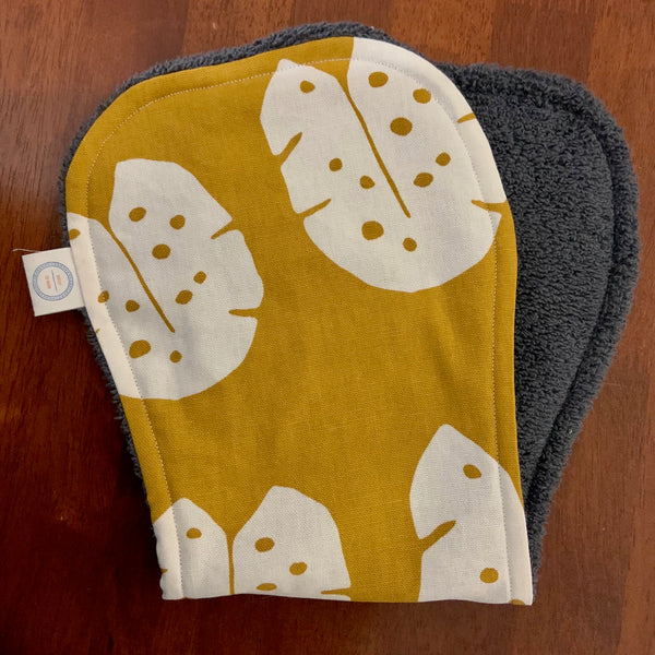 Contoured Burp Cloth - Mustard Monstera