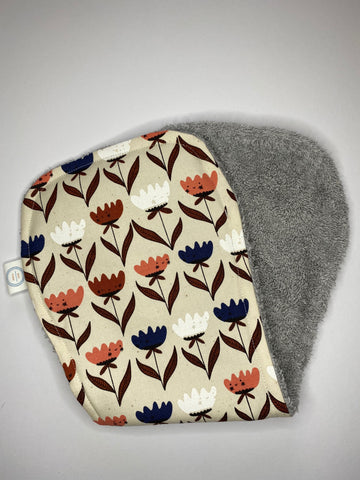 Contoured Burp Cloth - Retro Tulip Face