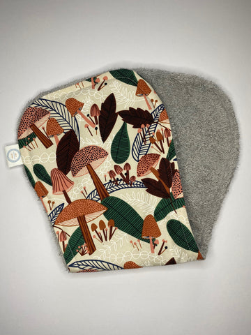 Contoured Burp Cloth - Retro Mushrooms