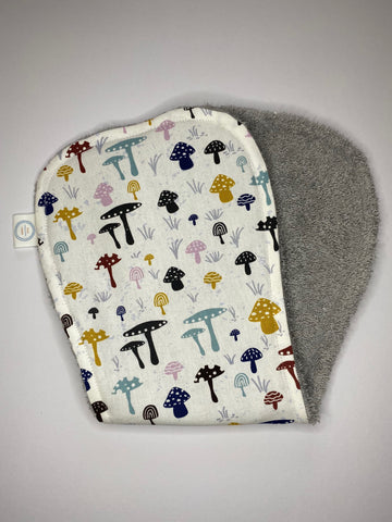 Contoured Burp Cloth - White Mushrooms