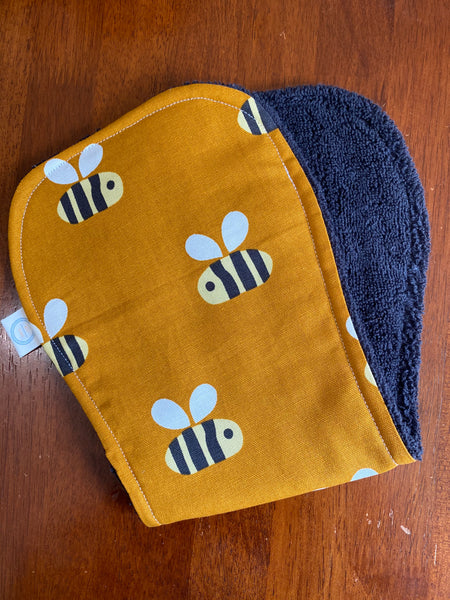 Contoured Burp Cloth - Mustard Bees
