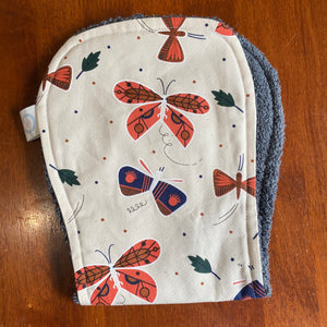 Contoured Burp Cloth - Retro Butterfly