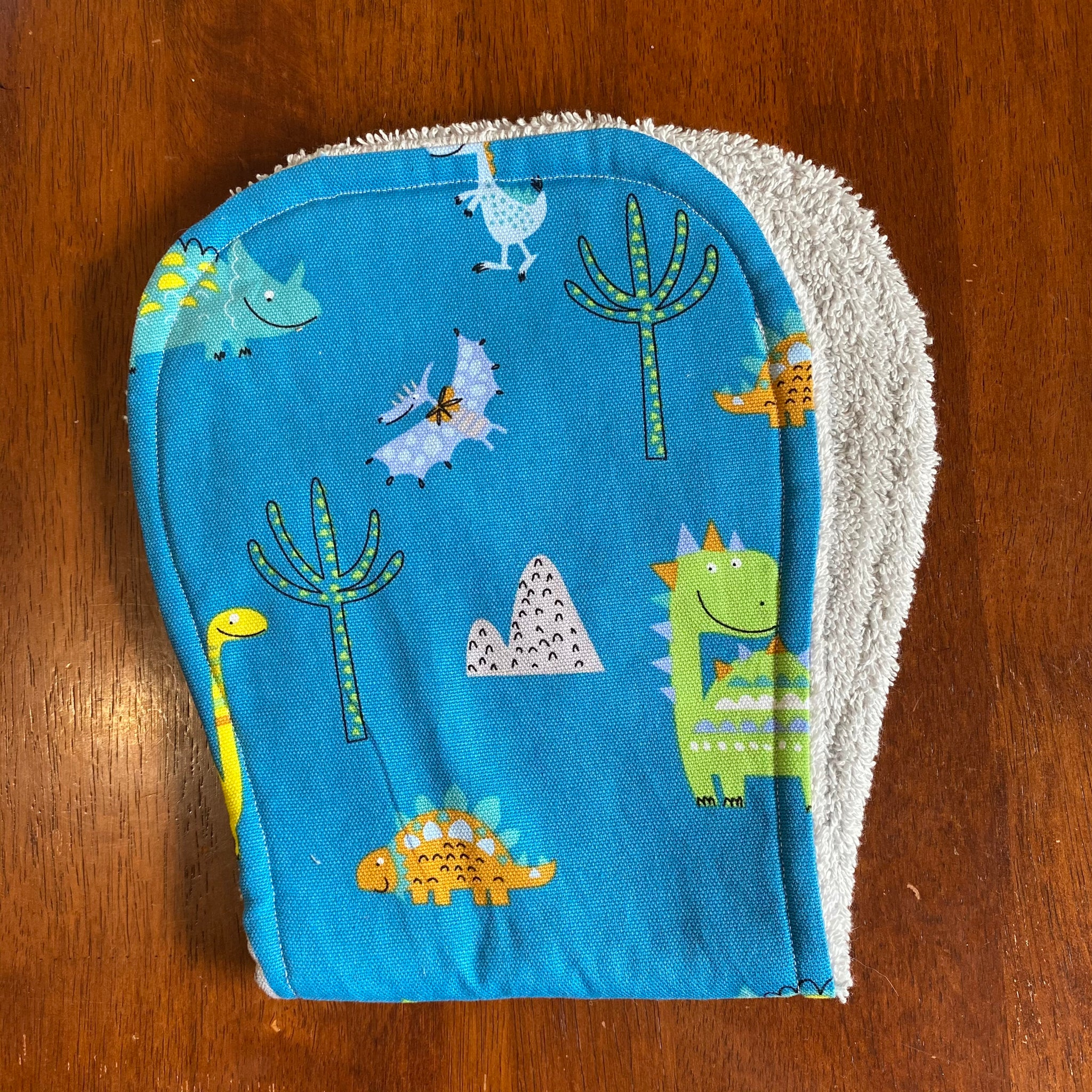 Contoured Burp Cloth - Blue Dino