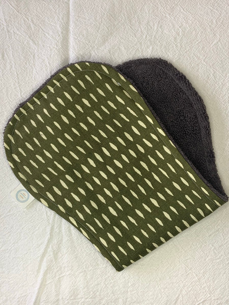 Contoured Burp Cloth - Olive White Stripe