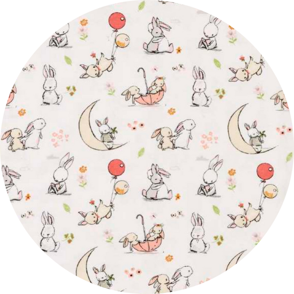 Play/Tummy Time Mat 1m Round - Bunny on the Moon