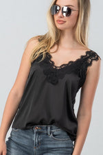 ELEGANT SATIN LACE CAMI TOP - Cielo Blue LA