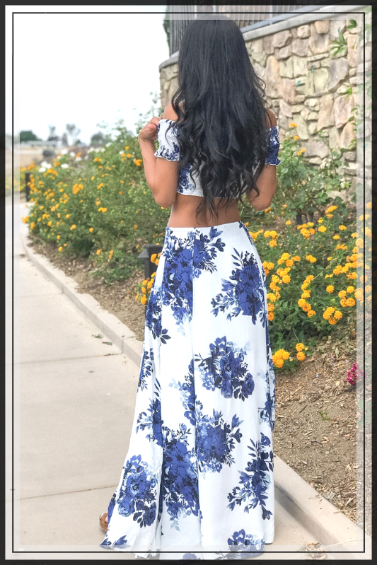 CUTE WHITE AND BLUE OFF SHOULDER MAXI SET