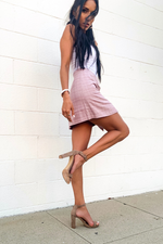 CHIC MAUVE MOCK WRAP MINI SKIRT - Cielo Blue LA
