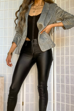 RITZY OPEN BLAZER  CAT WOMAN BLACK LEATHER PANTS - Cielo Blue LA