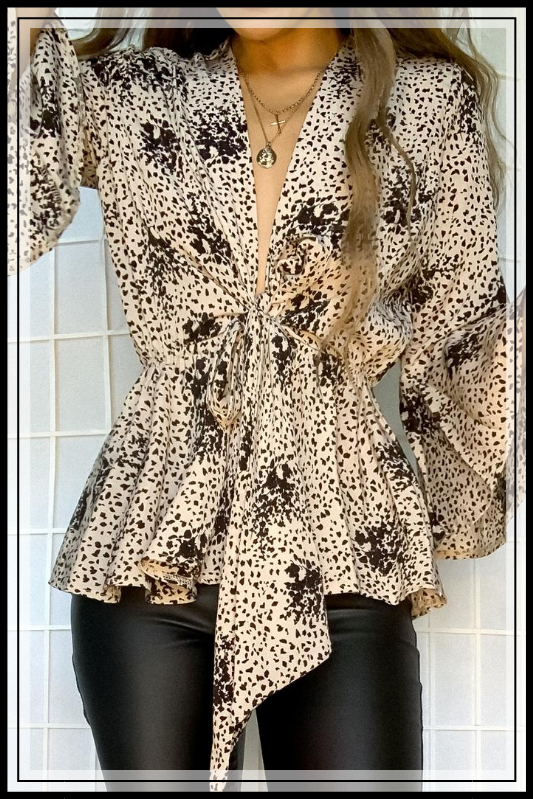 TAUPE BLOUSE WITH PLUNGING NECKLINE AND TIE WAIST