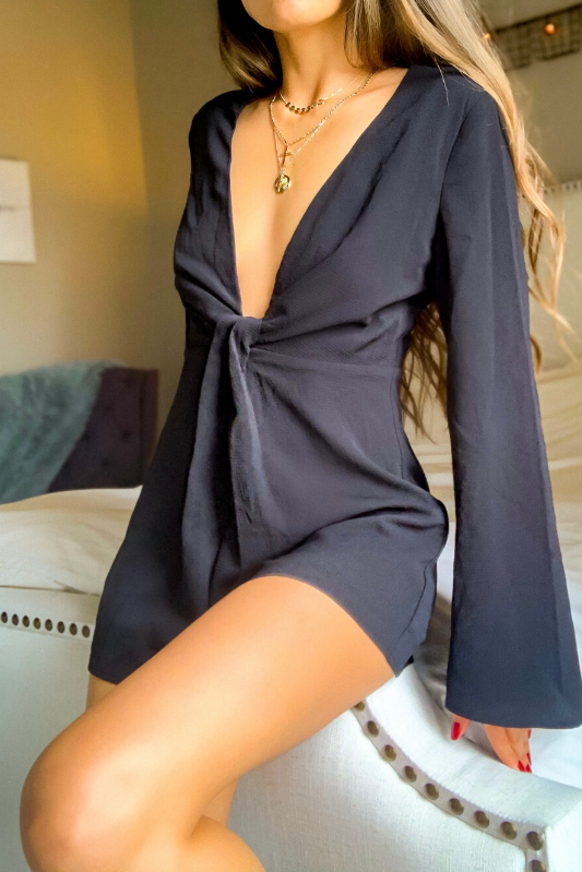 LONG BELL SLEEVE ROMPER - Cielo Blue LA