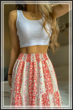 BOHEMIAN TIERED FLORAL MAXI SKIRT